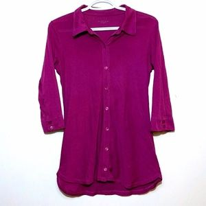 Eileen Fisher Organic Cotton Button Front Shirt XS